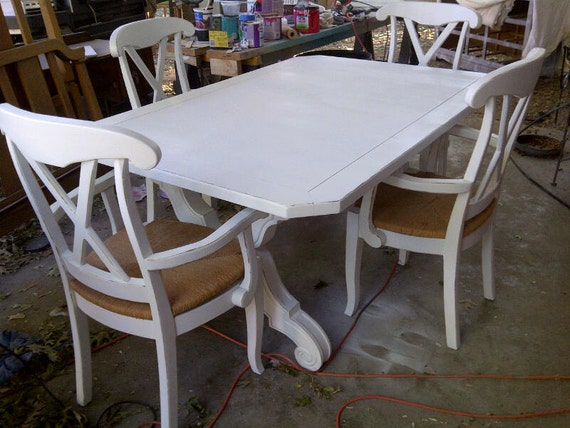 Unavailable listing on etsy for Distressed white dining table