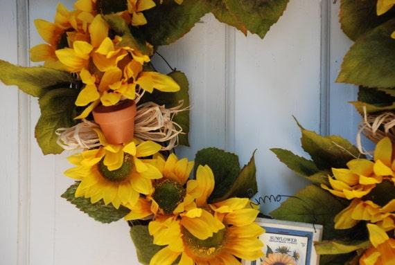 Sunflower Wreath, Rustic Wreath, Front Door Decoration,Summer Wreath, Fall Wreath, Home Decor