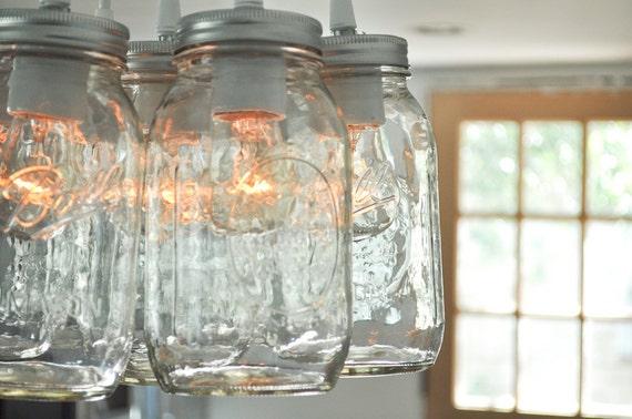 Custom Listing for Deana - Mason Jar Light Chandelier - Lucky Seven Quart Size