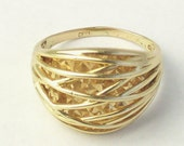 14K Solid Yellow Gold Wire Work Mirror Cut Vintage RING Unique on Etsy