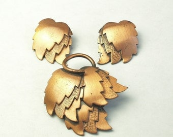 Renoir Vintage Fall Autumn Copper Tiered Leaf BROOCH Pin & Earring Set Book Piece Costume Jewelry