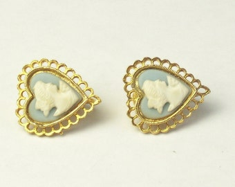 1960's Mid Century Vintage EARRINGS Blue Faux Jasper Ware Cameo Heart Mid Century Costume Jewelry Signed Tara Gift For Her on Etsy