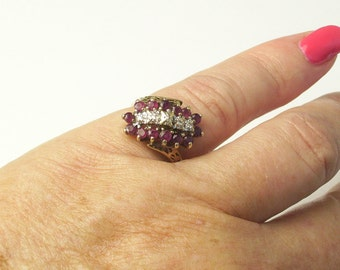 14K Solid Yellow Gold Ring Ruby Cluster 1960's Vintage Cocktail RING Mid Century Fine Jewelry Gift For Her on Etsy