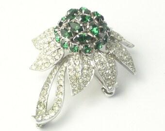 Austria Navette Tear Drop Emerald Green Rhinestone Dome Flower Vintage Costume Jewelry Statement BROOCH Pin