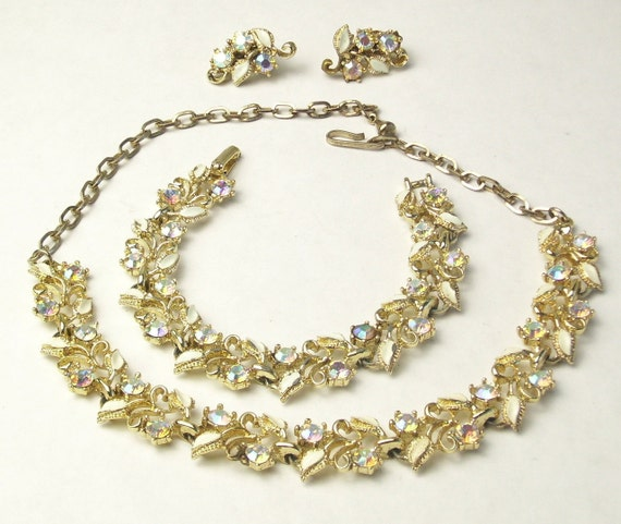 Aurora Borealis Rhinestone White Enamel Vintage Demi Parure Necklace Bracelet EARRINGS LISNER Costume Jewelry on Etsy