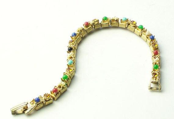 Vintage Gold Tiny Decorated Gift BOX BRACELET on Etsy Costume Jewelry