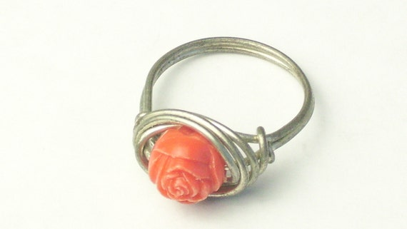 Carved Celluloid Coral Flower Wire Work RING on Etsy