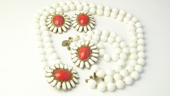 Reserved for Marie Milk White Glass Beads Orange Cabochon Demi Parure Vogue Vtg Costume Jewelry Necklace Bracelet Earrings