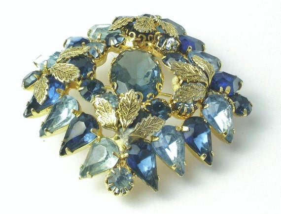 Montana Sky Blue Sapphire Blue Rhinestone Detailed Gold Leaf Fabulous Vintage BROOCH Pin on Etsy