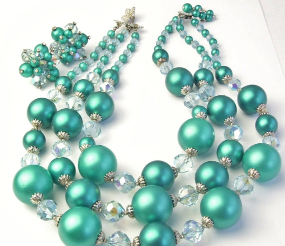 Vendome Glass Crystal Teal Blue Satin Beads 3 Strand Vintage Costume Jewelry Necklace & Earrings on Etsy