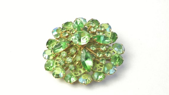 Green & AB Rhinestone Enamel Filigree Dome Vintage 1950's Costume Jewelry BROOCH Pin on Etsy