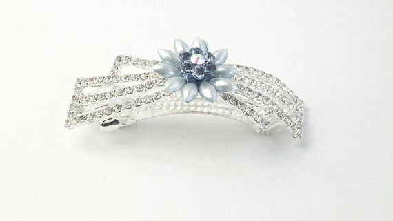 Clear Rhinestone Blue Plastic Flower Vintage Barrette on Etsy For Wedding Or Brides