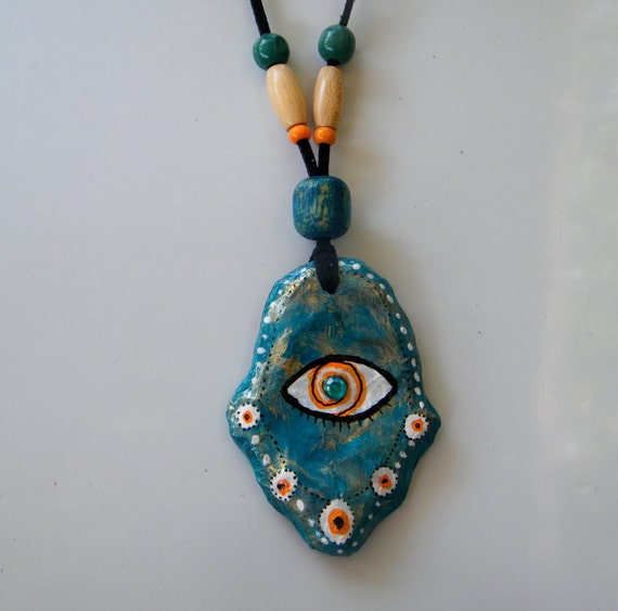 Sale - Turquoise HAMSA -  ewelry - recycled PENDANT - upcycled paper mache - teacher present - Under 20 dollar - free shipping