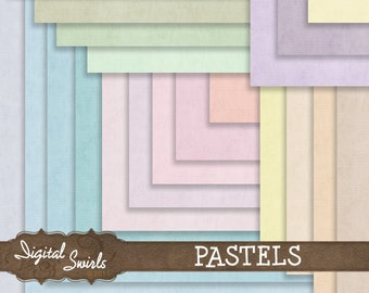 Plain Pastels - 12x12 Digital Paper Pack for card making, scrapbooking, invitations, printed products, commercial use - Instant download