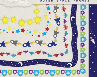 Outer Space Frames - 8.5 x 11 - Digital Clipart for card making, scrapbooking, invitations, printed products, commercial use