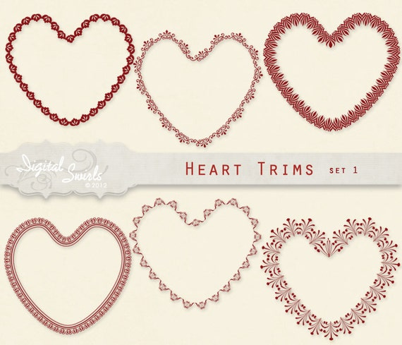 Heart Trims Set 1 -  Digital Clipart for card making, scrapbooking, invitations, printed products, commercial use - Instant download