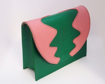 Pingo Clutch- Pink and Green leather clutch