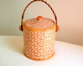 cookie jar ceramic with wicker handle