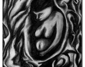 Womb- expressive Black and White Charcoal drawing By Tzipi Schindler