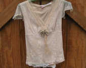 Romantic baby doll lace top beige vintage trim stretch XS S ready to ship