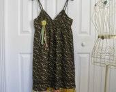 Boho babydoll sundress, prairie sundress, fall sundress brown medium upcycled eco friendly dress Ready to ship