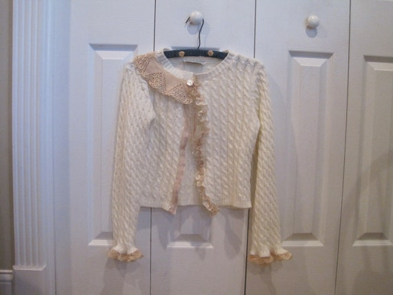 Ivory cropped mori girl sweater eco vintage crocheted collar boho small Ready to ship