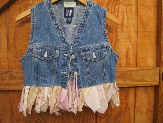 Denim vest, Boho denim tattered pixie vest small eco firendly ready to ship