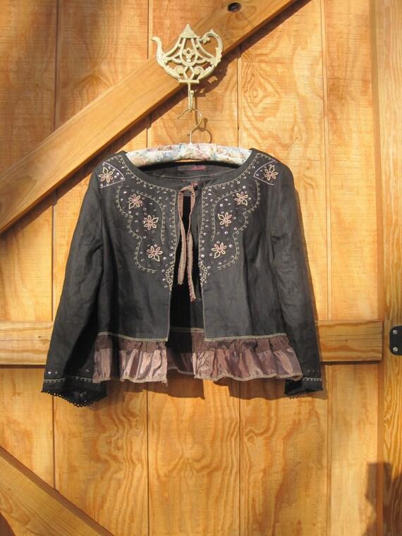 Boho jacket black linen Eco black linen cropped blouse Medium Ready to ship