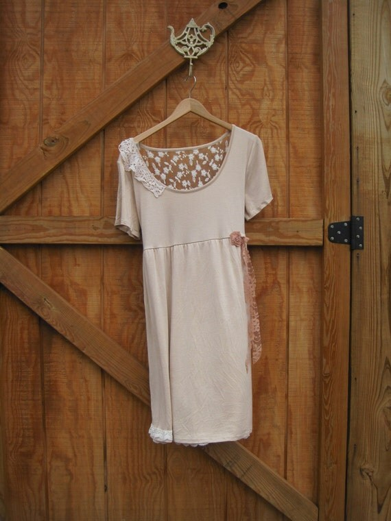 Boho dress,blush dress, baby doll M knit dress, beige knit dress medium Ready to ship