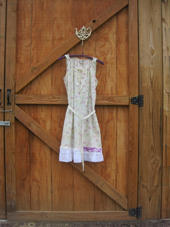 Eco boho prairie dress babydoll dress floral small medium Ready to ship