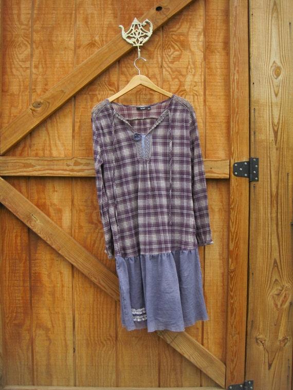 Prairie dress boho dress hand dyed purple gray medium large ready to ship