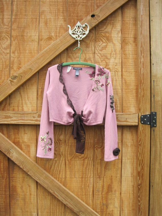 Boho cardigan pink brown medium Ready to ship...