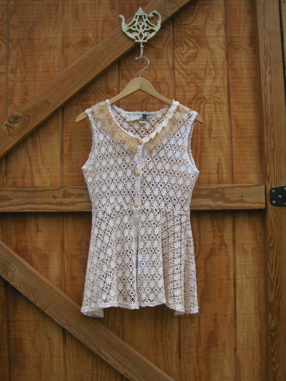 Lace cream vest, boho lace vest, mori girl vest hand dyed cotton small upcycled ready to ship