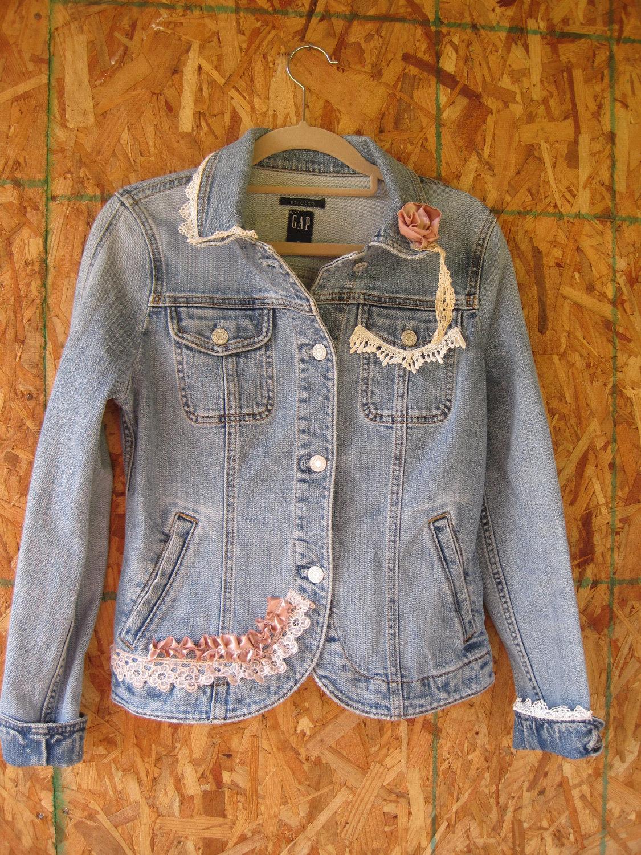 boho denim jacket jeans jacket lace denim blazer small. Black Bedroom Furniture Sets. Home Design Ideas