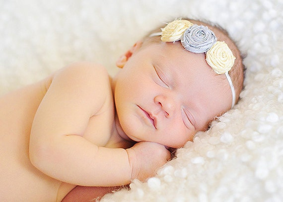 Baby Headband Yellow and Gray -  Fabric Flowers - Flower Headband - Three Rolled Rosettes on Skinny White Elastic Headband - Baby Headbands