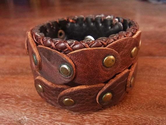 Steampunk Studded Leather Cuff Bracelet // rocker // warrior // rustic // 2 tone