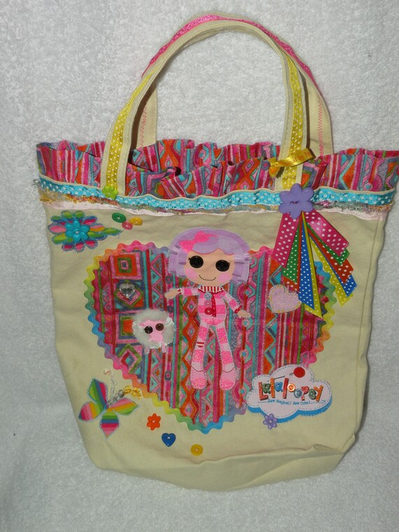 LALALOOPSY Tote Bag Custom one of a kind featuring MITTENS FEATHERBED and her sheep