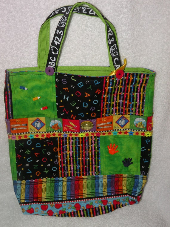 Quilted TEACHER pet TOTE BAG school time pencil crayons chalkboard beaded decorated carry purse