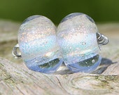 Gold Dichroic Pair Handmade Lampworked Glass Beads Leteam