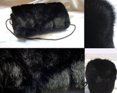 Muff  mink black faux fur handwarmer bag inside christmas gift