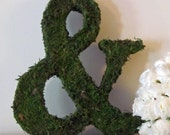 Moss Covered Monogram Letter - Ampersand - Wedding or Engagement Photo Shoot Prop (24 inches)