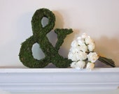 Moss Covered Ampersand (&) Wedding or Engagement Photo Shoot Prop ( 8 inches )