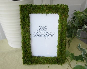 Moss Covered Wedding Party Table Frames, 30 5x7 Moss Covered Frames