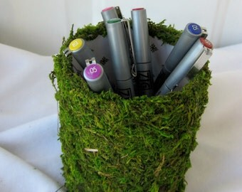 Guest Book Pen Holder, Moss Covered