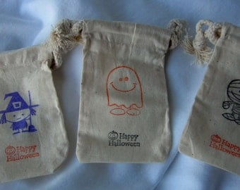 Halloween Treat Bags - Mix of 25 Halloween Bags - Cotton Favor Bags 3x5 - SHIPS WITHIN 2 DAYS