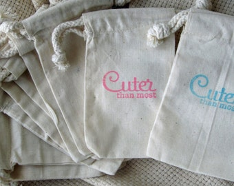 Baby Shower Favors, 10 Cuter than Most, Cotton Favor Bags 3x5
