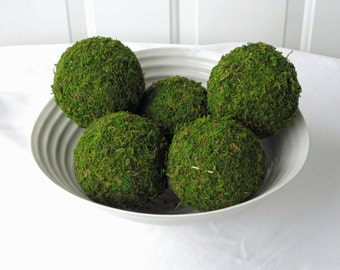 Moss Pomander Balls, Set of 5,  4 inch Moss Balls for Home or Wedding Decor