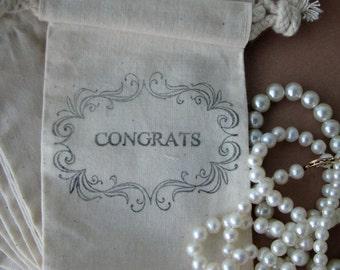 Congrats Just Married Wedding Favor - Congrats Favor Bags, 10 Cotton Bags size 3x5