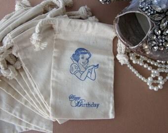 Snow White Birthday Party Favors, 10 Disney Princess Birthday Cotton Favor Bags size 3x5