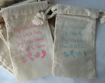 "Baby Shower Favors, 10 ""Tiny Little Hands"", Cotton Favor Bags 3x5"